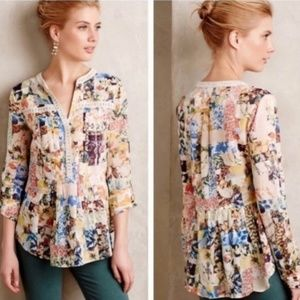 Anthropologie Maeve Abella Pintuck Crochet Blouse